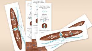 Graphiste La Rochelle - Elisabeth MORIN - Cartes de visite marque-page L'Encre et la Boussole
